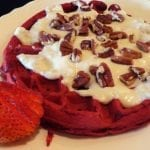 Red Velvet Waffles with Cream Cheese Glaze