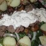 Roast Beef Spinach Salad with Roasted Veggies and Horseradish Dressing