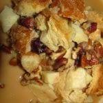 Caramel Macchiato Apple Bread Pudding with Pecan Praline Sauce