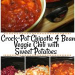 Crock-Pot Chipotle 4 Bean Veggie Chili with Sweet Potatoes