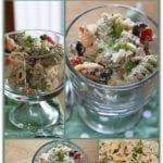 Parmesan Tuna and Veggie Pasta Salad with Greek Yogurt Dressing