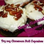 Cinnamon Roll Cupcakes with Pecan Cream Cheese Frosting