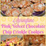 Springtime Pink Velvet Chocolate Chip Crinkle Cookies