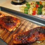 Father's Day Spice Rubbed Cedar Plank Grilled Salmon and Veggie Kabobs