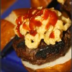 Inside Out Honey Whiskey BBQ Bacon Cheese Burgers topped with Mac and Cheese