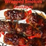 Blueberry Butter Glazed Bacon Wrapped Smokies Sausages