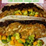 Tortilla Chip Crusted Baked Fish Tacos with Avocado Mango Salsa