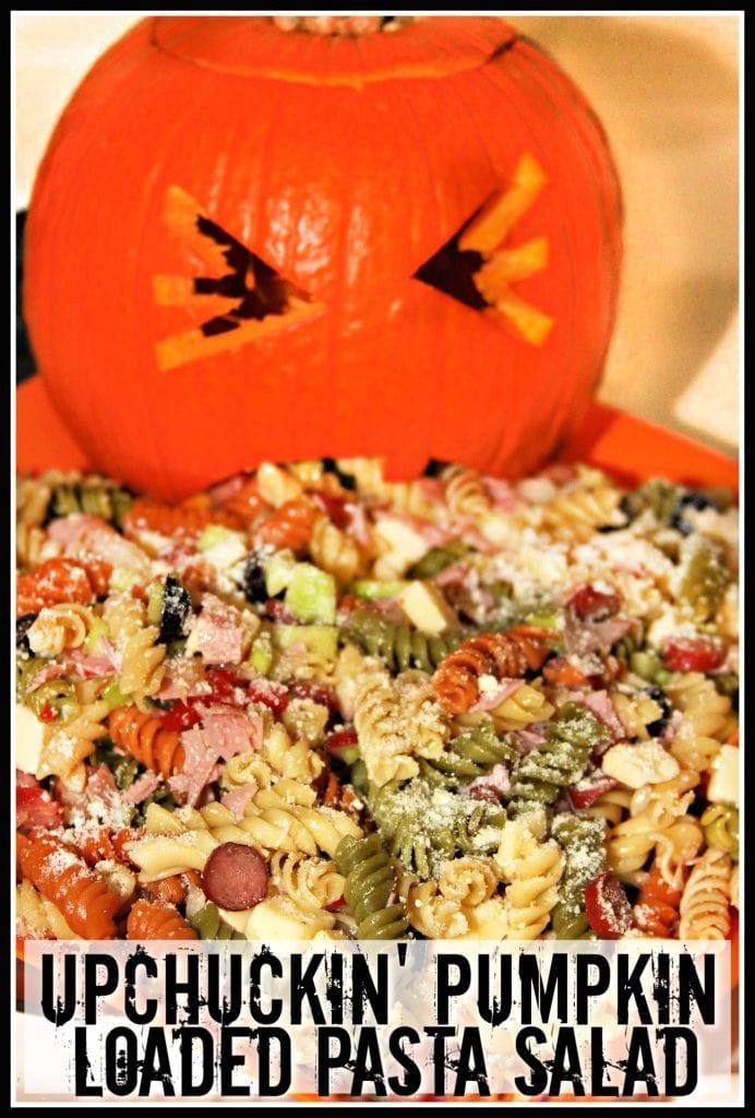 Halloween Pasta Salad in a Pumpkin