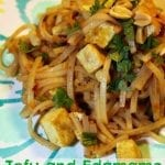 Tofu and Edamame Pad Thai Noodles for National Soyfoods Month