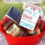 Chip and Dip Thank You Basket & Printable Card and Mango Ice for Summer Drinks