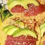 Ahi Tuna Fish Tacos with Wasabi Creme and Ramen Slaw