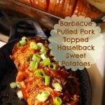 Barbecue Pulled Pork Topped Hasselback Sweet Potatoes