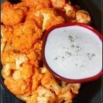 Buffalo Cauliflower with Homemade Blue Cheese Dressing