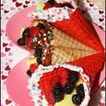 Fruit Filled Chocolate Waffle Cones