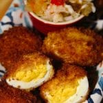 Game Day Fried Deviled Eggs with Chow Chow Relish