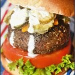 Fried Pickle Burger with Buttermilk Ranch Dip #BurgerMonth