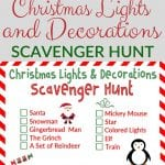 Christmas Lights and Decorations Scavenger Hunt – Free Printable!