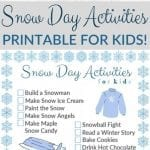 Printable Snow Day Activities Checklist