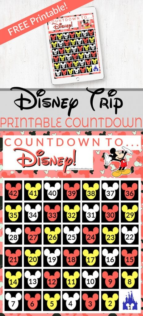 photo regarding Disney Countdown Printable titled Disney Holiday vacation Countdown Free of charge Printable - For the Delight in of Food stuff