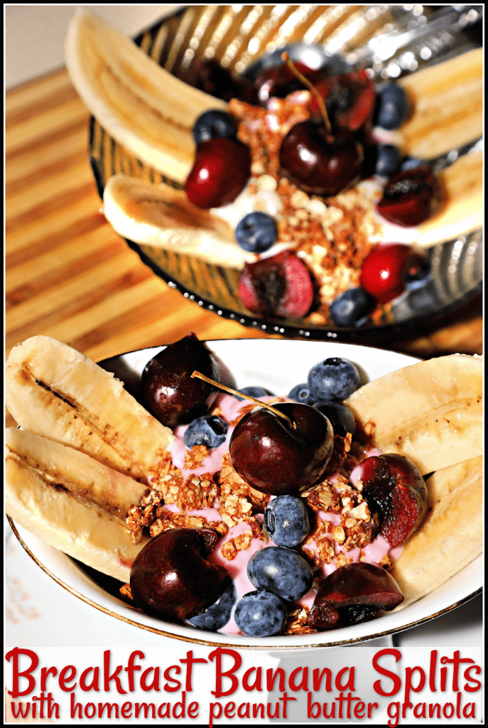 Breakfast Banana Splits with Homemade Peanut Butter Granola