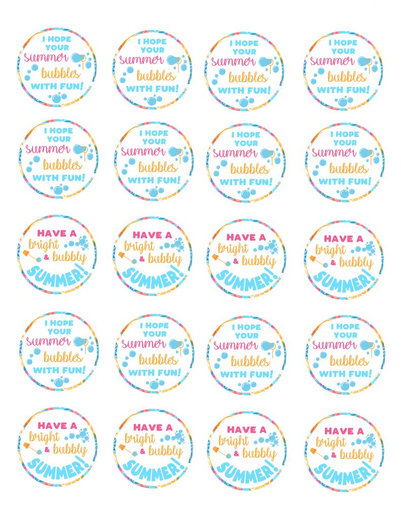End of School Year Summertime Bubble Gift Idea For Kids   Free ...